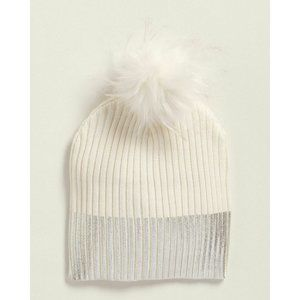 NEW with tags (Girls) Ivory Metallic Trim Pom-Pom